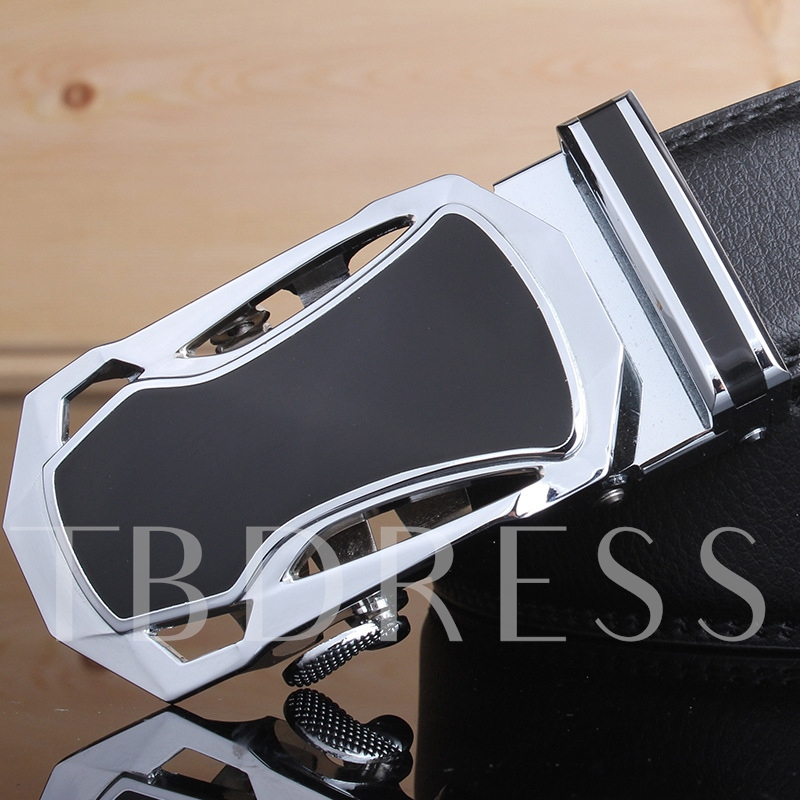 Hollow Automatic Buckle Design Artificial Leather Men's Belt