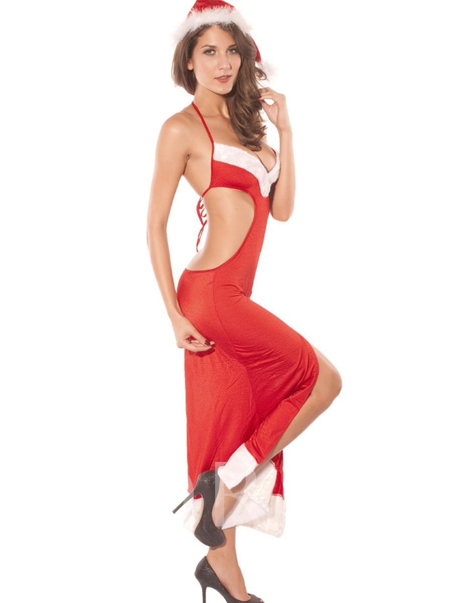 Sexy Halter Backless Split-Front Christmas Costume