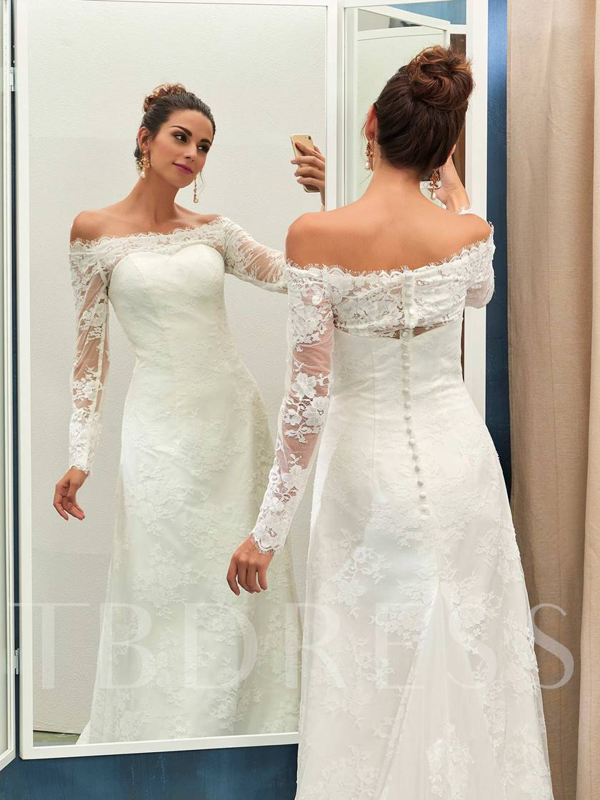 Off-The-Shoulder Long Sleeves Lace Wedding Dress