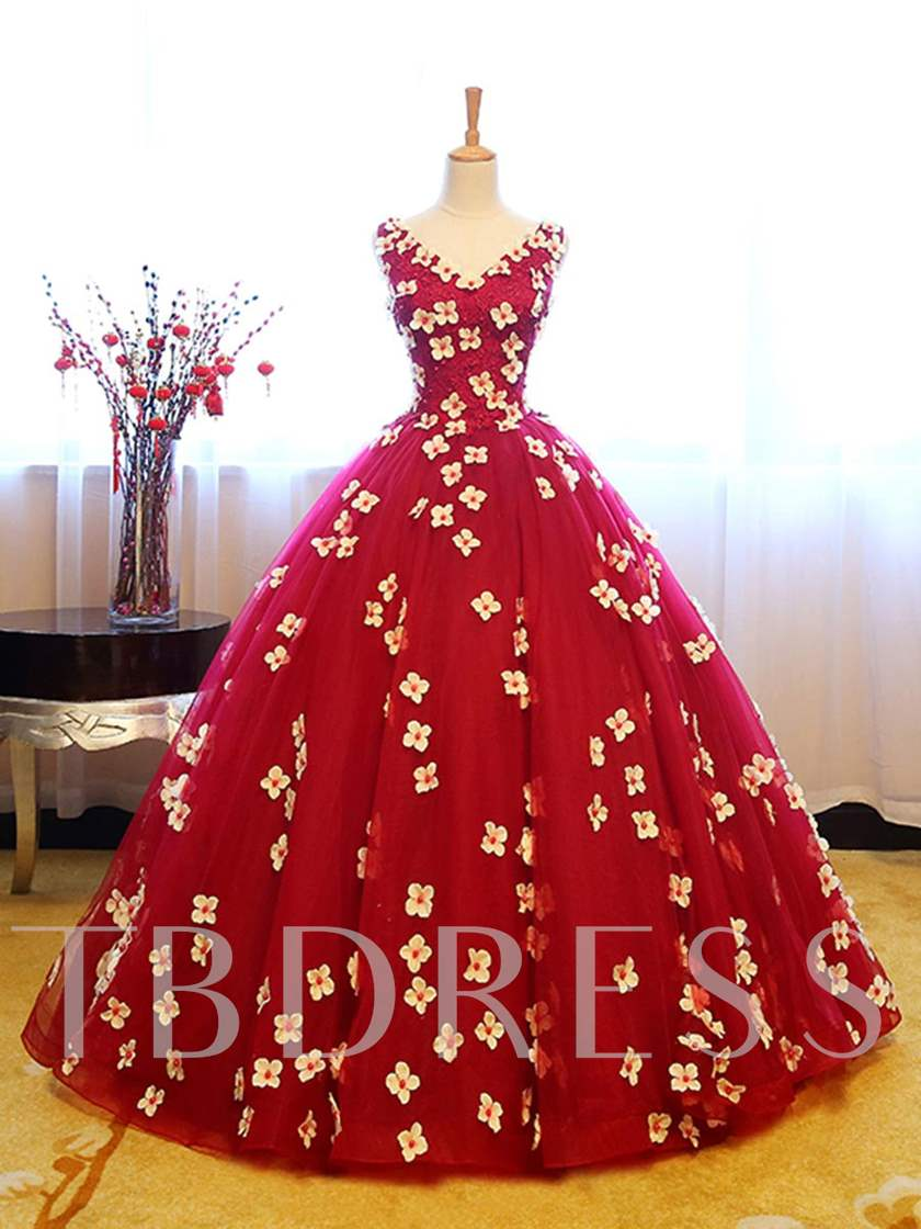 V-Neck Ball Gown Flowers Appliques Beading Floor-Length Quinceanera Dress