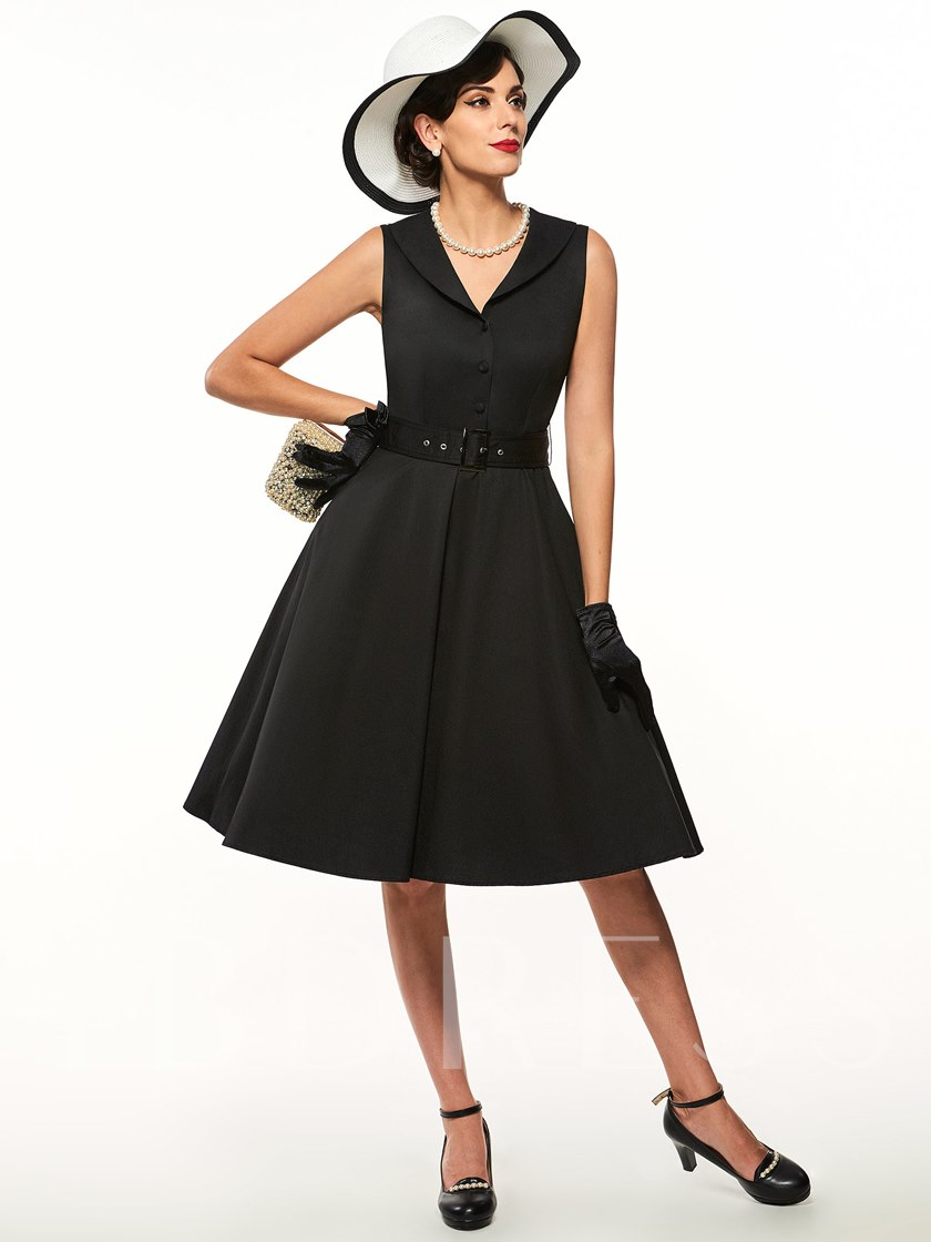 Plain V-Neck Button Belt Lapel Women's Day Dress