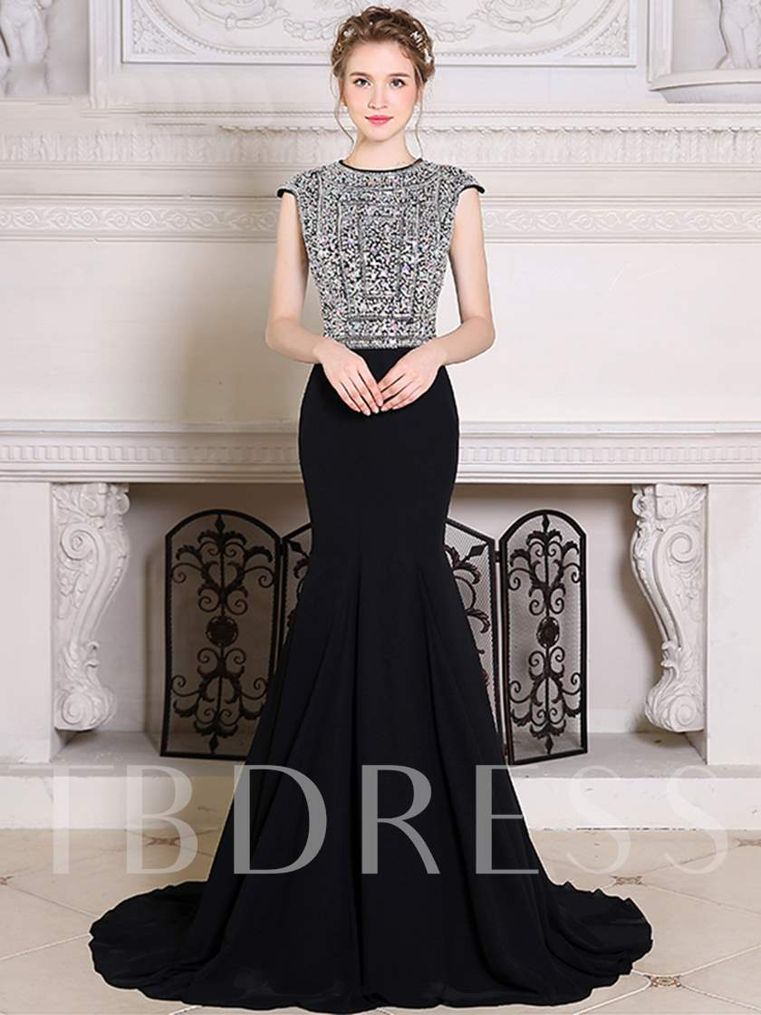 Jewel Mermaid Cap Sleeves Rhinestone Evening Dress