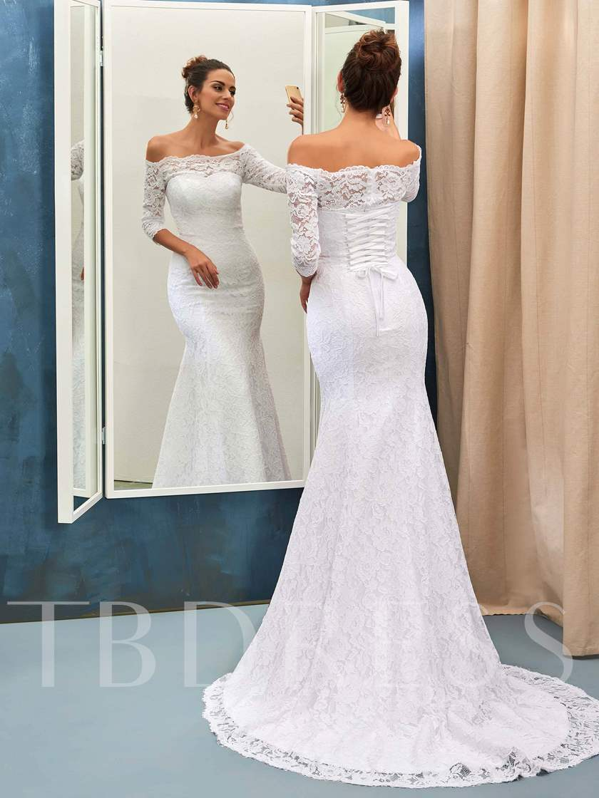 3/4 Sleeves Mermaid Lace Wedding Dress