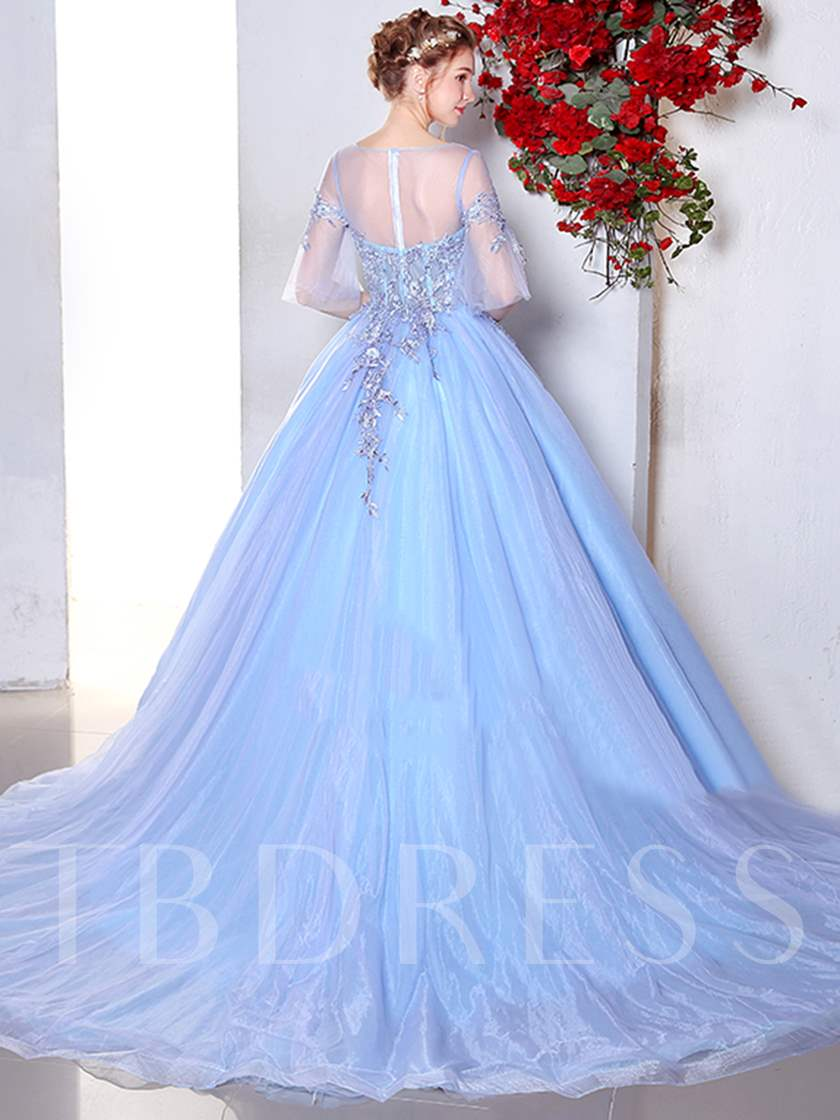 Scoop Ball Gown Half Sleeves Appliques Beading Lace Quinceanera Dress