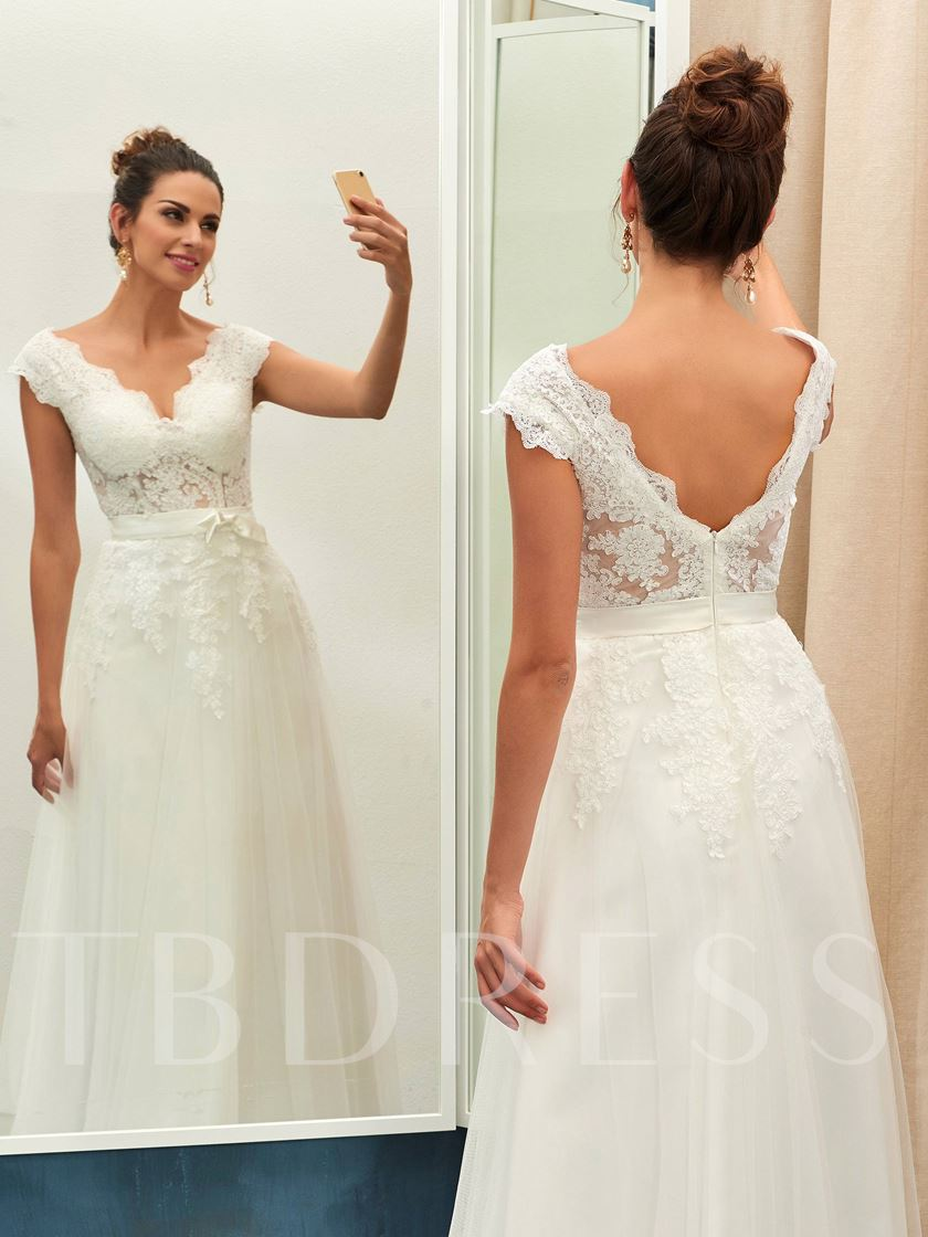 V-Neck Cap Sleeve Appliques Wedding Dress