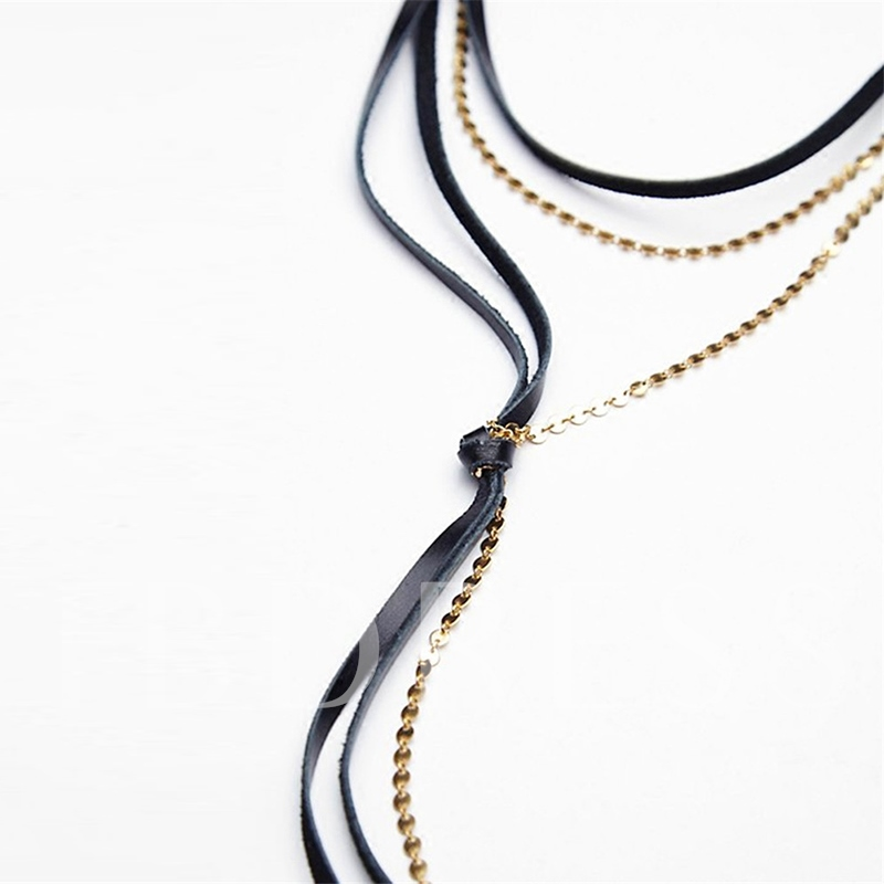 Multilayer Sequins & Artificial Leather Design Necklace