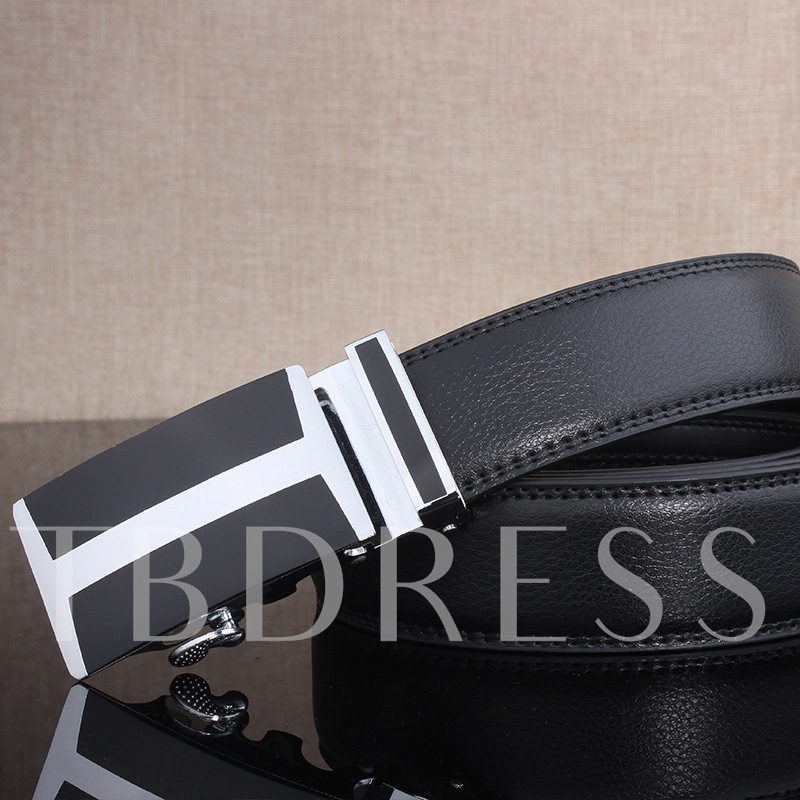 Black Artificial Leather Ratchet Slide Holeless Men's Belt
