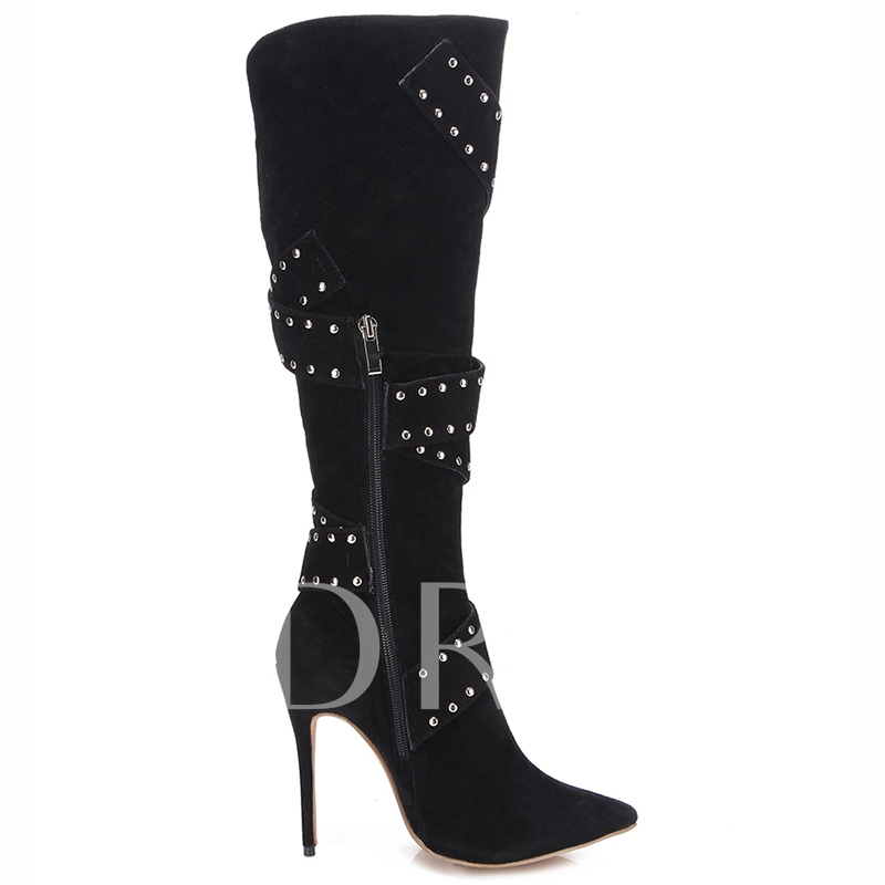 Rivets Pointed Toe Ultra-High Heel Women's Boots