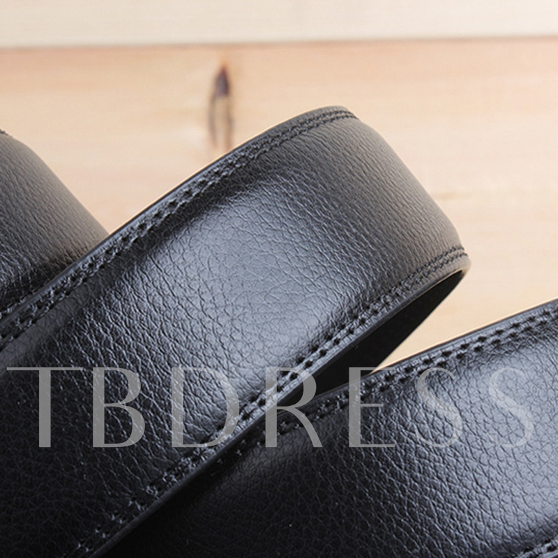 Black Artificial Leather Alloy Automatic Buckle Men's Belt