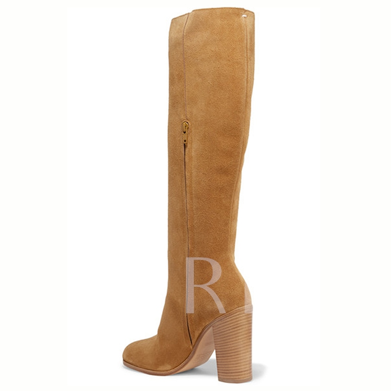 Round Toe Chunky Heel Rivets Women's Knee High Boots