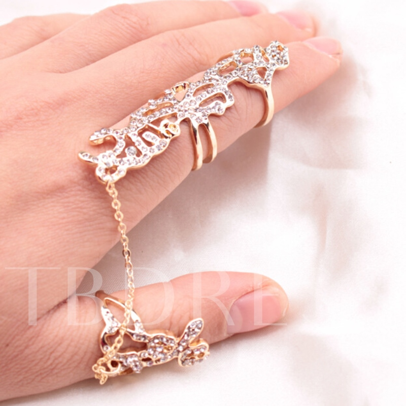 Golden Rose Diamante Alloy Ring