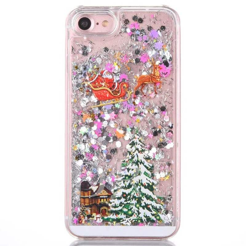 iPhone 7Plus/7/6/6S Plus Case,Bling Bling Santa Claus Pattern Shell