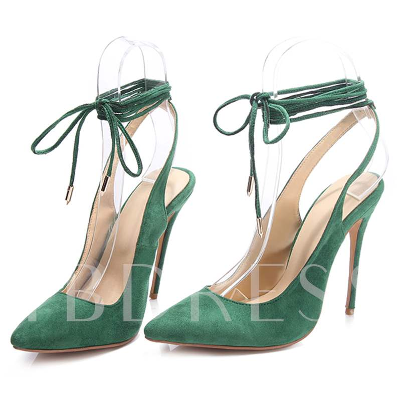 Lace-Up Pointed Toe Ultra-High Heel Women's Pumps