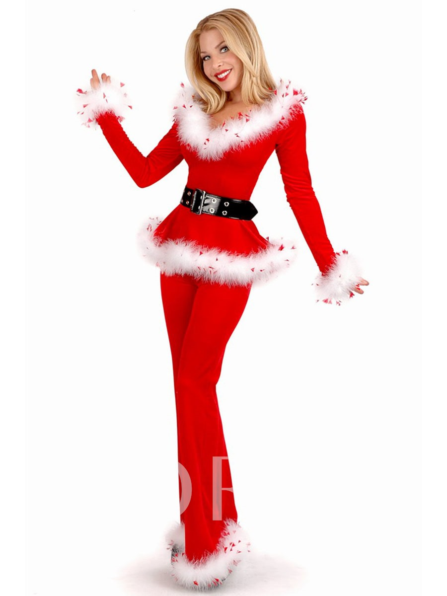 Long Sleeve V-Neck Belt-Decorated Christmas Costume