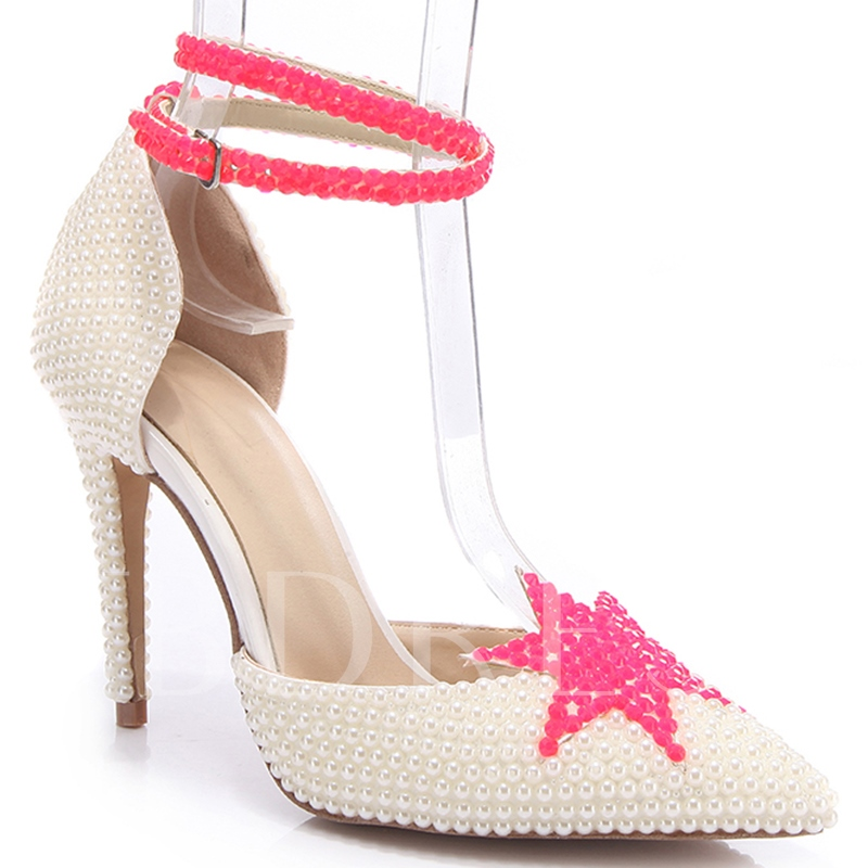Beads Pointed Toe Buckle Women's Wedding Shoes