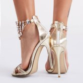 Stiletto Heel Open Toe Plain Rhinestone Plain Women's Sandals