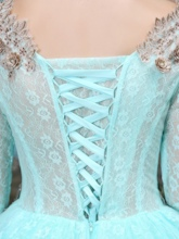 Long Sleeves Scoop Ball Gown Appliques Lace Floor-Length Quinceanera Dress
