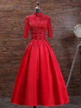 A-Line High Neck Appliques Beading Tea-Length Evening Gowns 2019