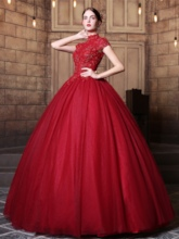 Beaded Ball Gown Appliques High Neck Long Quinceanera Dress