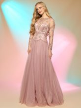 Long Sleeves Beading Button Sheer Back Prom Dress