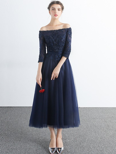Off-the-Shoulder Appliques Beading Tea-Length Evening Dress
