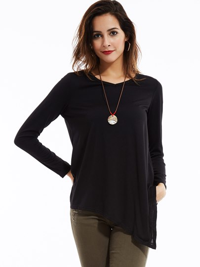 Black Asymmetrical Round Collar Long Sleeve Women's Blouse
