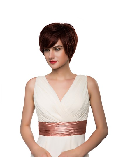 Short Cut With Bangs Straight Human Hair Capless Wig 10 Inches