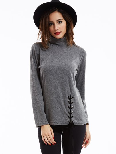 Lace-Up Plain Slim Stand Collar Women's T-Shirt