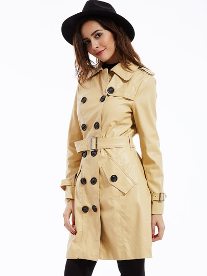 Classic Lapel Double-Breasted Pu Women's Jacket