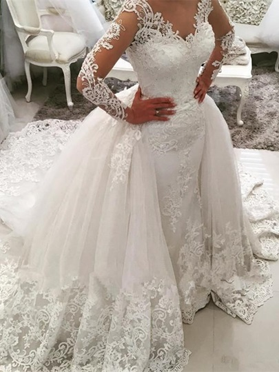 V-Neck Long Sleeves Appliques Watteau Train Wedding Dress