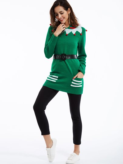 Funny Double Pocket Casual Round Neck Women's Ugly Christmas Sweater