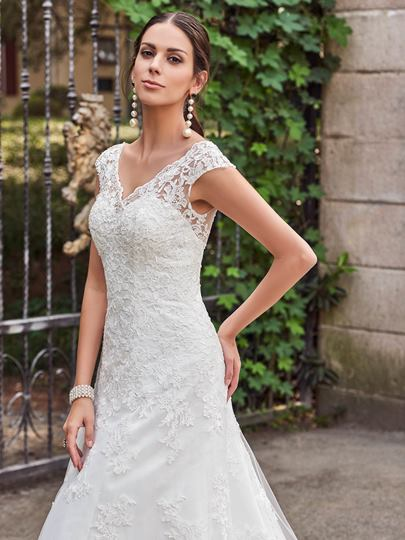 V-Neck Lace Appliques Court Train Button A-Line Wedding Dress