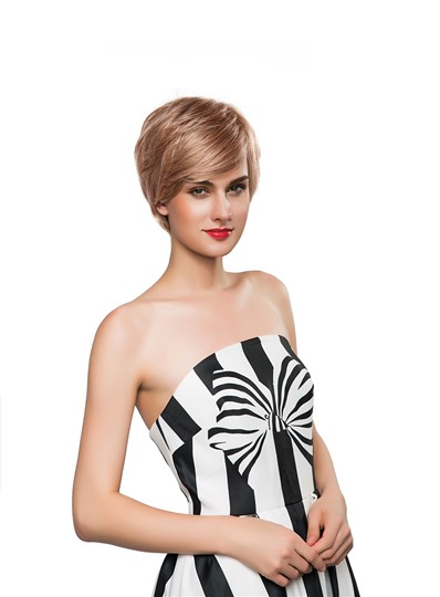 Messy Short Straight Human Hair Capless Wig 8 Inches