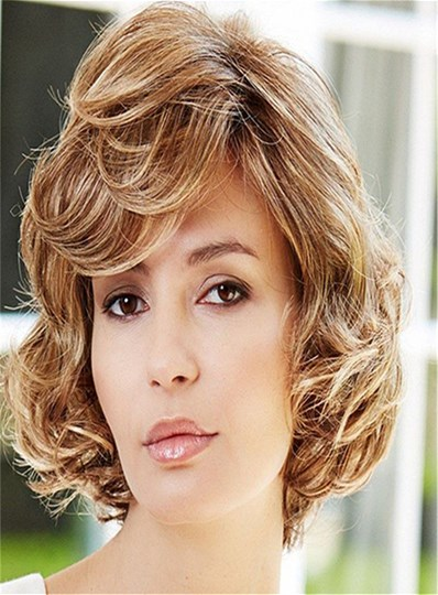 Short Curly Bob Hairstyle Layered Synthetic Hair Capless Wig 8 Inches