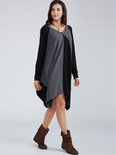 Color Block V-Neck Asymmetrical Day Dress