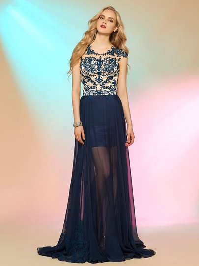 Scoop A-Line Cap Sleeves Appliques Button Long Prom Dress