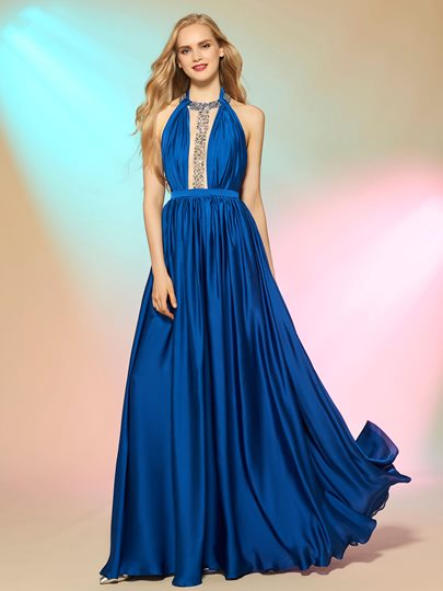 Halter A-Line Draped Pick-Ups Backless Floor-Length Prom Dress