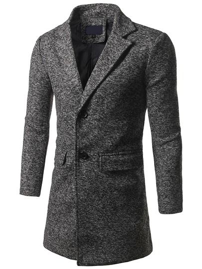 Solid Color Lapel Men's Long-Pattern Coat
