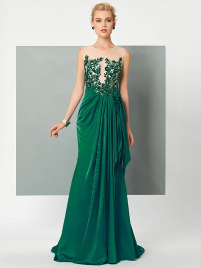Mermaid Appliques Sequins Evening Dress
