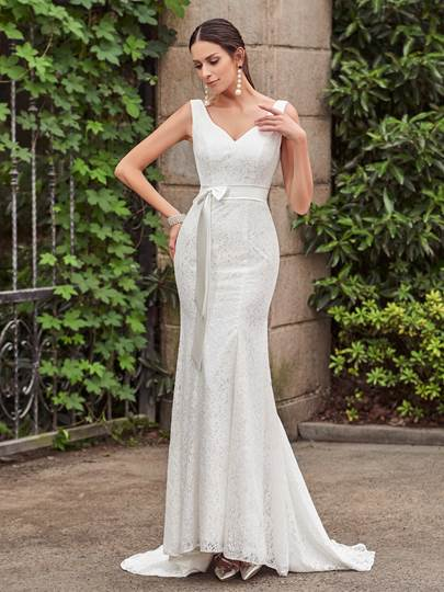 V-Neck Straps Lace Mermaid Wedding Dress