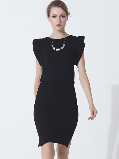 Solid Color Double-Layered Women's Bodycon Dress