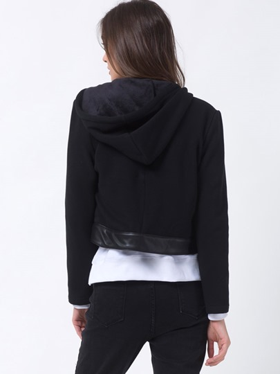 Patchwork Zipper Lapel Women's Jacket