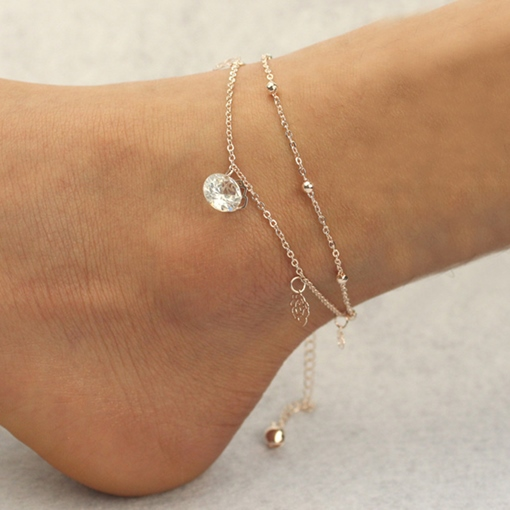 Hollow-Out Rose Pendant Anklet