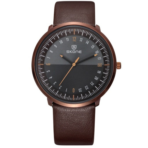 Ultra Thin Dial Design Artificial Leather Band Men's Watch