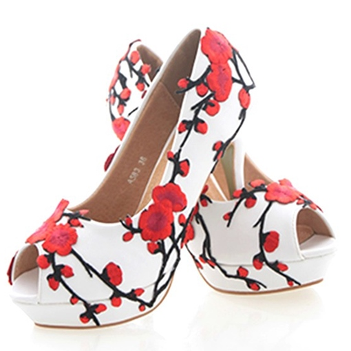 Appliques Peep Toe Platform Women's Wedding Shoes