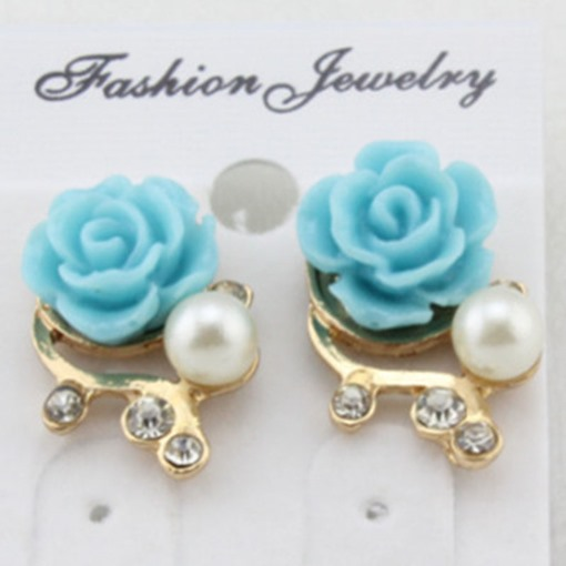 Rose & Pearl Decorated Alloy Stud Earrings