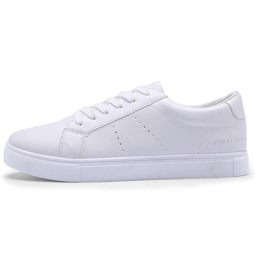 Round Toe Flat Low Heel White Men's Shoes