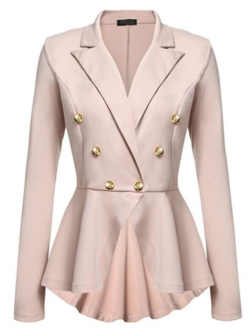 Plain Oblique Buckle Lapel Women's Blazer