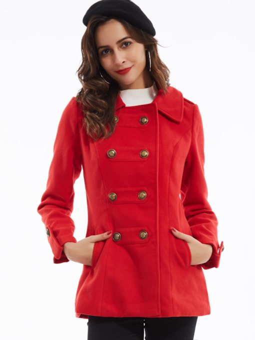 Lapel Double-Breasted Belt Women's Overcoat
