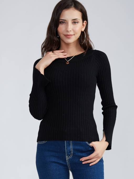 Plain Slim Round Neck Women's Sweater